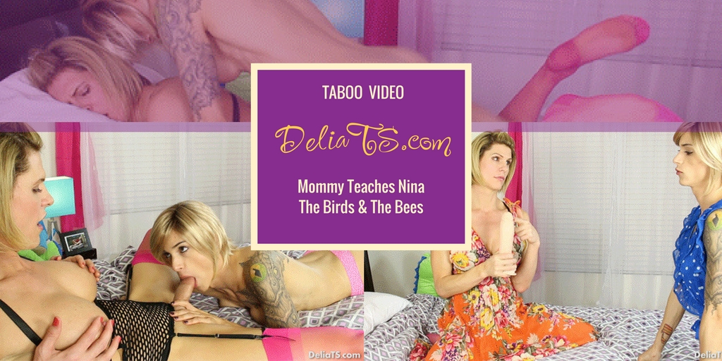 Mommy teaches Nina the birds and bees taboo TS anal