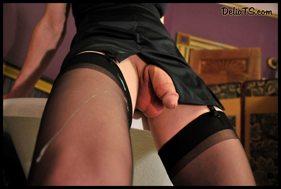 Ejaculating onto panty hose